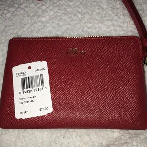 NWT Coach Crossgrain Corner Zip True Red Wristlet